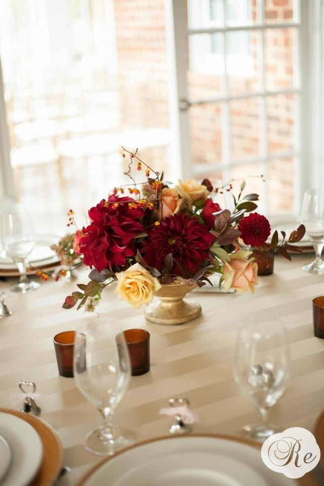 Red Dahlia Centerpiece : Gold compote vase with deep red flowers centerpieces