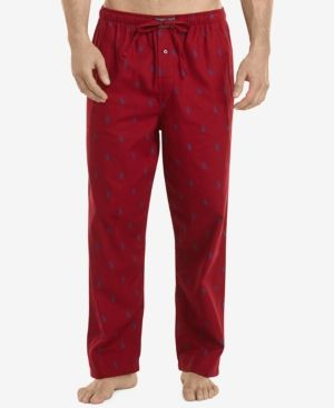 Polo Ralph Lauren Men's Flannel Pony-Print Pajama Pants - Avenue Red XL