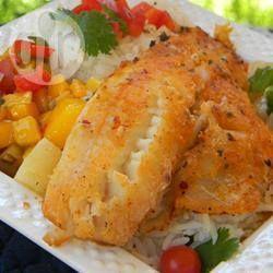 Peixe frito com molho de frutas @ allrecipes.com.br