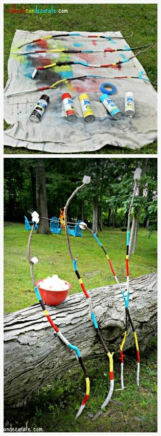 DIY Painted Roasting Marshmallow Sticks - Redhead Can Decorate