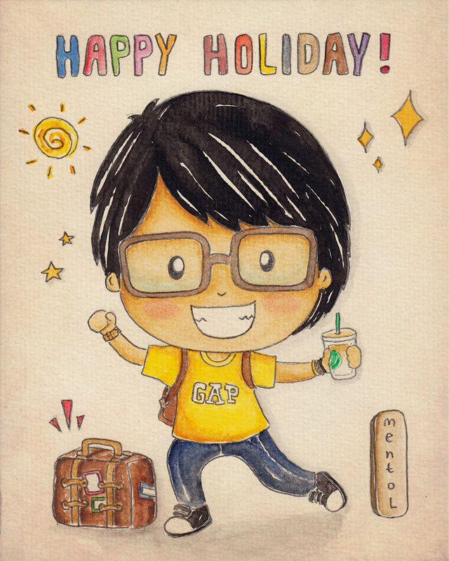 can't wait for holiday !  illustrated by : mentol art. freelance illustrator of cute cartoon  mentolart.com