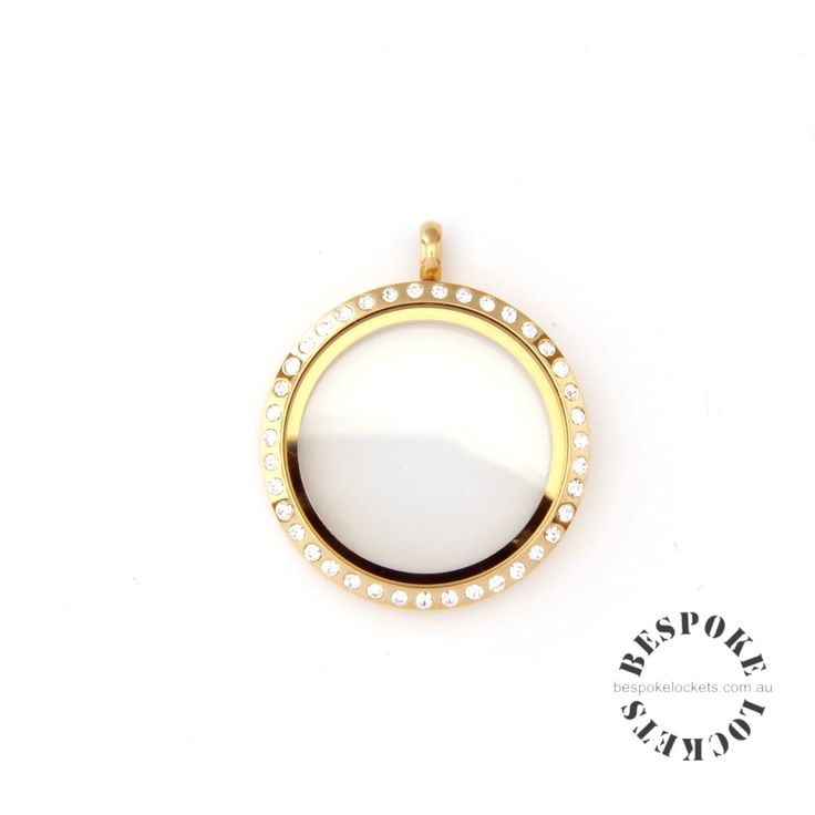 Gold Coloured Round Stainless Steel Locket with Rhinestones