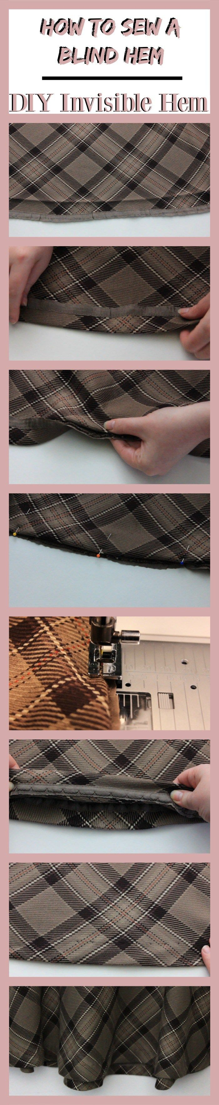 How To Sew A Blind Hem With A Sewing Machine | DIY Invisible Hem - The Awl Nighter