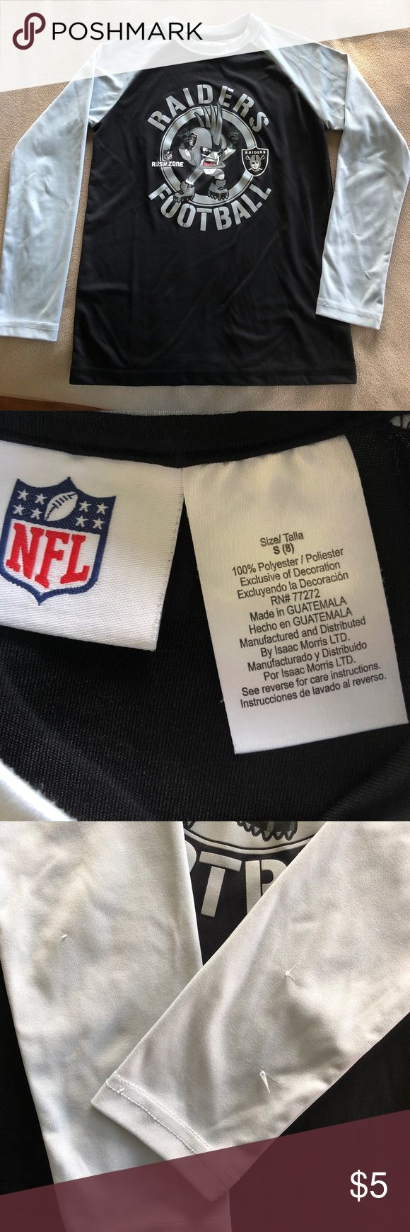 NFL Raiders long sleeve tee 100% polyester. Youth size S(8). Only wore handful times. But there're several snagged spots as shown on 3rd pic. NFL Shirts & Tops Tees - Long Sleeve