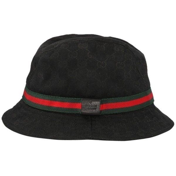 Pre-owned Gucci Gg Black Canvas Signature Bucket Hat - Size Xl ($300) ❤ liked on Polyvore featuring accessories, hats, black, gucci, gucci hat, ribbon hat, fisherman hat and canvas bucket hat
