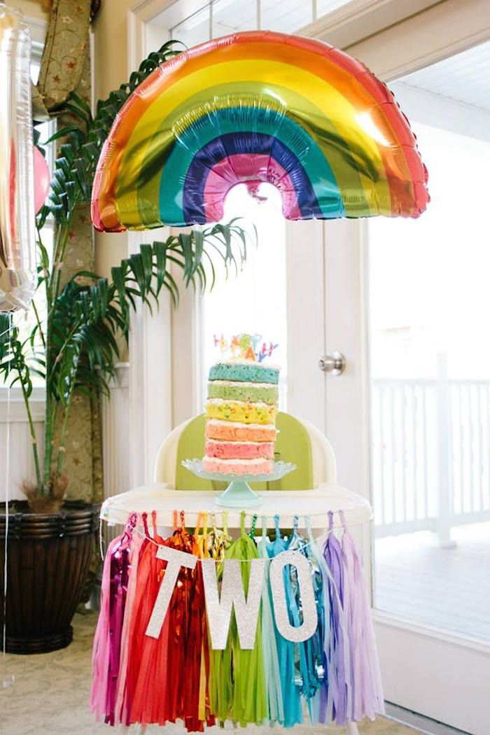 Highchair + Cake from a Rainbows + Balloons + Confetti Birthday Party via Kara's Party Ideas | KarasPartyIdeas.com (8)