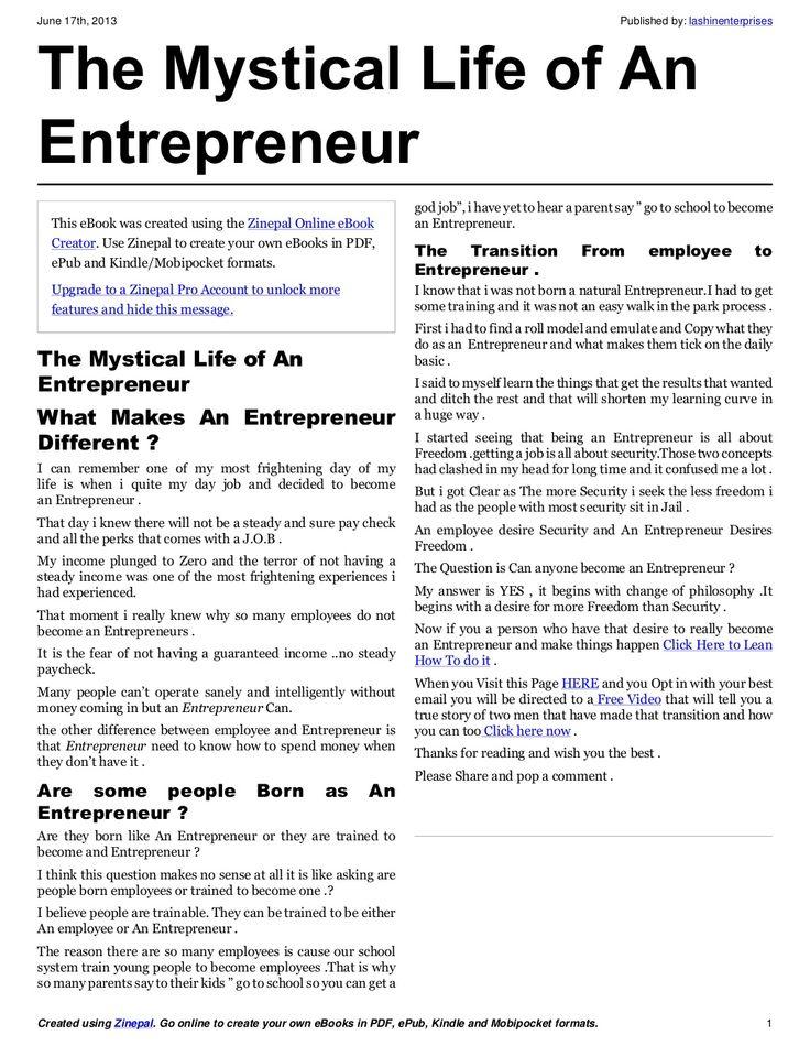 the-mystical-life-of-an-entrepreneur by lashinenterprises via Slideshare