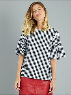 Top, blouse - Blouse vichy ouverte au dos - Kiabi