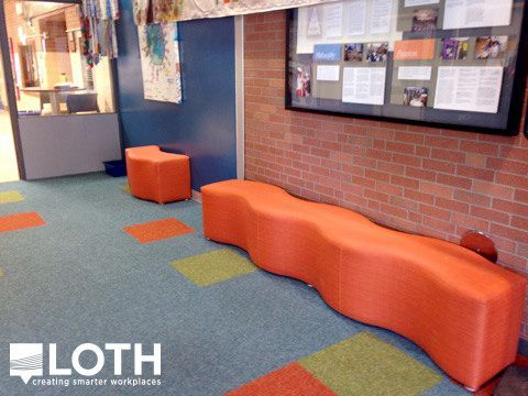 Coalesse Ripple Bench Provides Fun Seating In The Hallway Of Ua Wickliffe Elementary Columbus Office Furniturefurniture