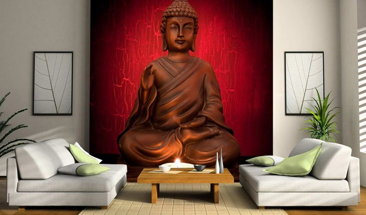 interior designers use buddha statues  buddha wallpaper and other buddha artifacts to create a