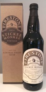 Stickee Monkee is a Quadrupel (Quad) style beer brewed by Firestone Walker Brewing Co. in Paso Robles, CA. 99 out of 100 with 905 ratings, reviews and opinions.