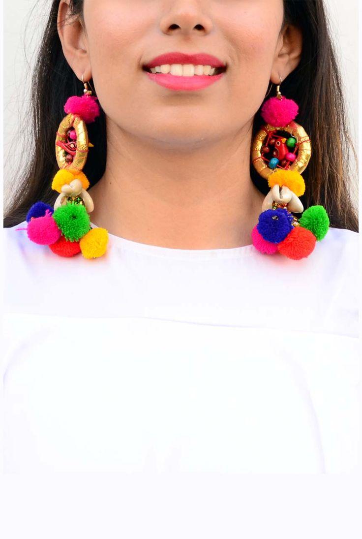 Multicolor Parrot Dreamcatcher Pom Pom Earrings #Earrings #Multicolor #PomPom…