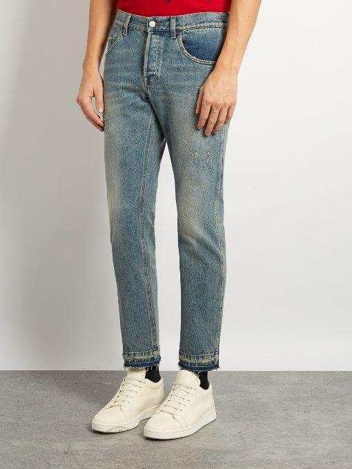 Gucci Distressed slim-leg jeans