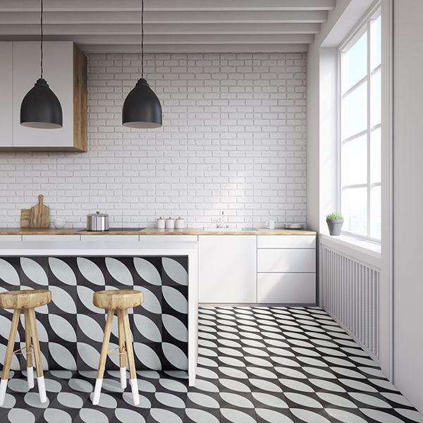 Big White Leaves Handmade Encaustic Cement Floor Tile   Otto Tiles & Design   Encaustic ...