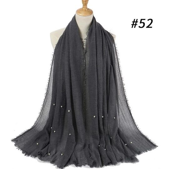 1 pc Women bubble plain scarf/scarves fringes women soft solid wrinkle hijabs Scarf fringes muffler shawls muslim wrap 55 colors   – Scarves