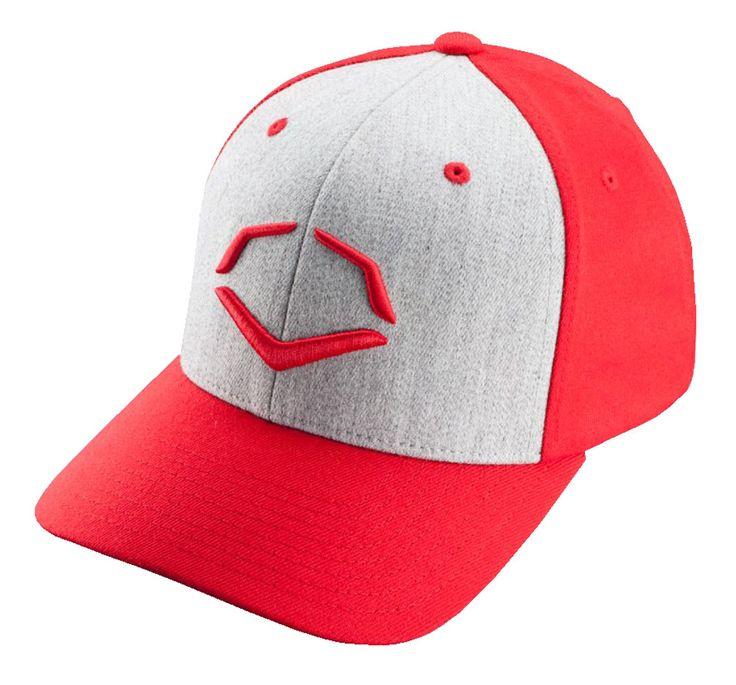 Evoshield Team Performance Flexfit Hat Baseball Cap, Red/Grey 1036360.610