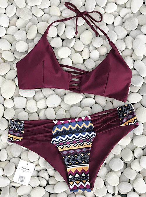 High-quality Happy Together Halter Bikini Set, $23.99! Free shipping & Easy Return + Refund! Peace out to enjoy some more summer with its print and halter design top. hit the whole summer now!