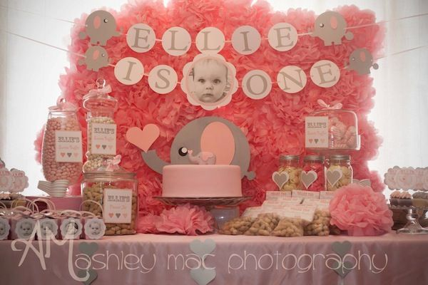 PINK ELEPHANT PARTY featured on Kara's Party Ideas- www.KarasPartyIdeas.com.''Love the tissue pom backdrop''!