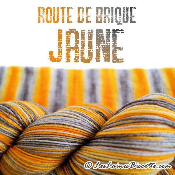 Bis-Sock AUTORAYANTEᵐᶜ - Route de brique jaune - Les Laines Biscotte