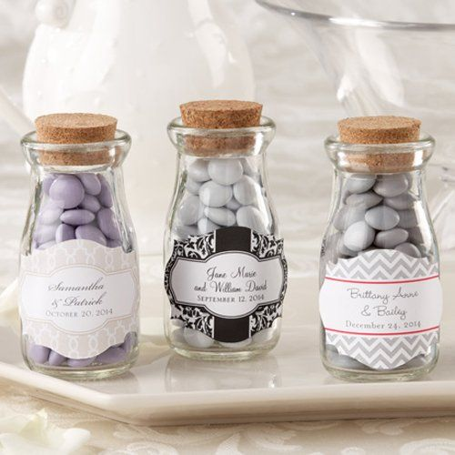 Personalized Vintage Milk Favor Jars by Beau-coup | Fill with crushed Nilla wafers and shell candy, $30.57 / 36 pcs