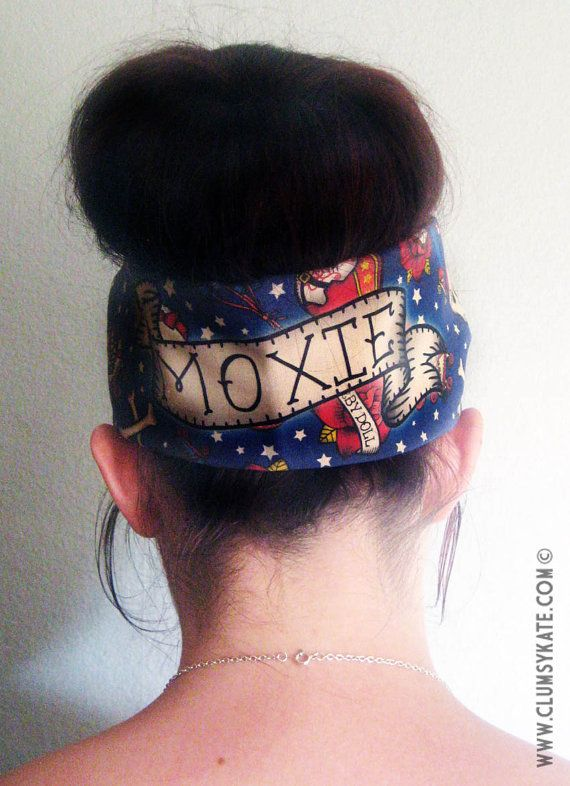 Roller Derby Name Custom Tattoo Print Head Scarf by Clumsy