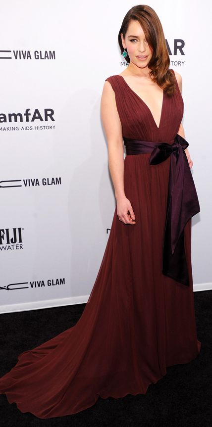 Celebrities in Marsala, Pantone's 2015 Color of the Year - Emilia Clarke #InStyle