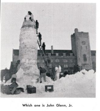 Snow sculpture building in front of Johnston Hall. 1962 Winter Carnival.