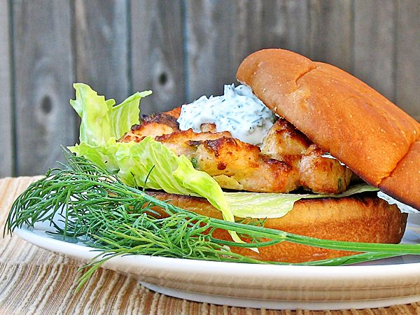 typical ground up salmon burgers and the tangy yogurt dill sauce is ...