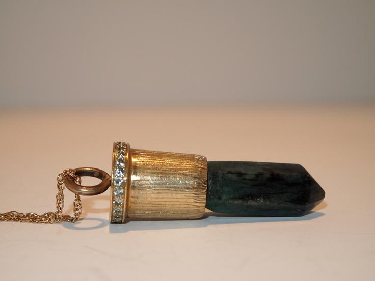 """Lipstick Killer""- My Pendant made of Brass, Emerald and Green Sapphires"