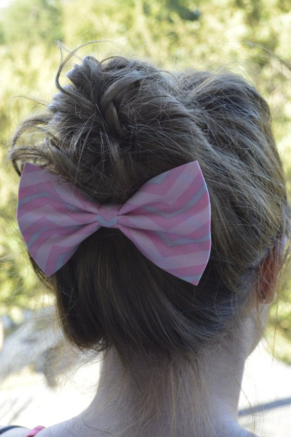 Pink and gray chevron hair bow,hair bows for women,bows for teens and girls, girls hair styles on Etsy, $3.99