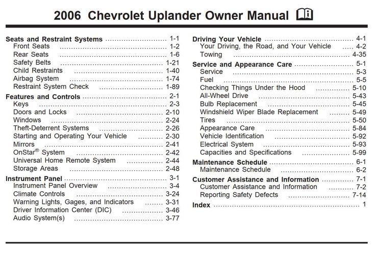 Chevrolet Uplander 2006 Owner's Manual Pdf Online