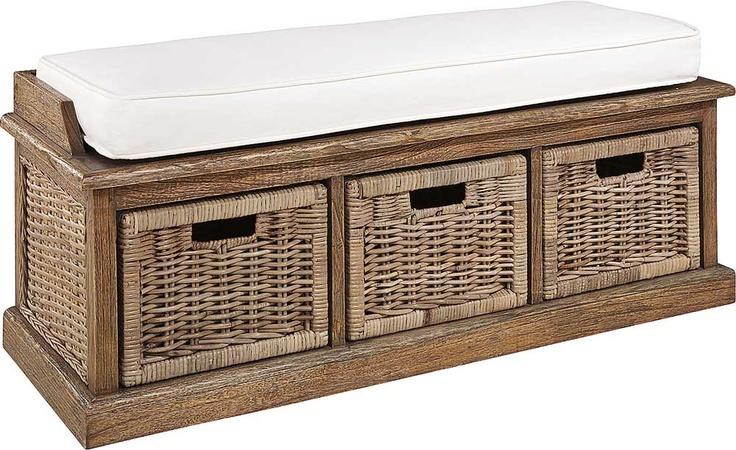 Den här bänken skulle jag kunna tänka mig att ha som Tv bänk i hallen på övervåningen. Fast utan dyna förstås! ♥ My white country house ♥ - Cubu bänk, 3 korgar - Artwood