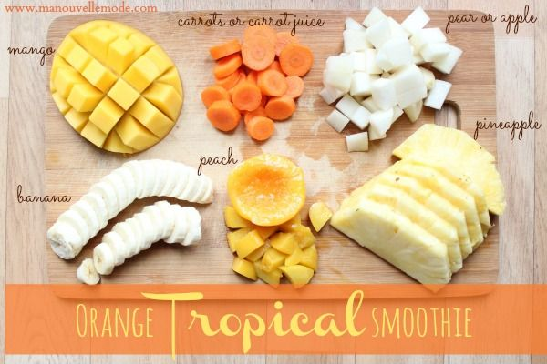orange tropical smoothie with carrots - no added sugar, healthy & yummy!