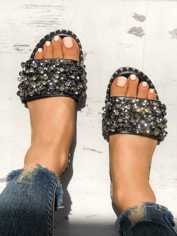 3f2a81cca Sequins Shiny Peep Toe Antiskid Sandals