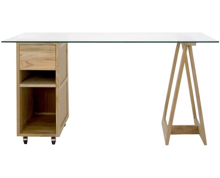 Lincoln Table (Teak) - Workspace | Weylandts - would do two trestles rather than drawers