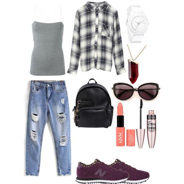 Sheinside boyfriend jeans way 2 by hajimo on Polyvore featuring polyvore, fashion, style, Rails, T By Alexander Wang, New Balance Classics, Dsquared2, Nixon, Kenneth Jay Lane, Wildfox, Maybelline, NYX and Sheinside