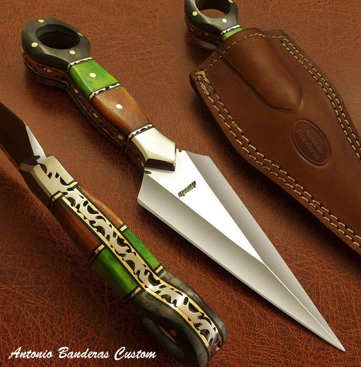 Antonio Banderas 1-OF-A-KIND BOOT KNIFE DAGGER, CAMEL BONE HANDLE, DAMASCUS