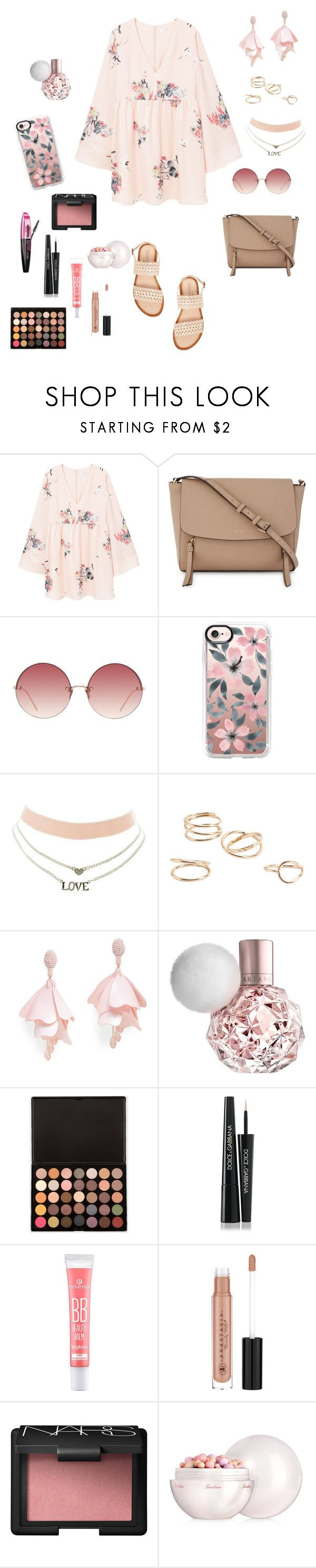 """""""Untitled #270"""" by natalyholly on Polyvore featuring MANGO, DKNY, Linda Farrow, Casetify, Charlotte Russe, Oscar de la Renta Pink Label, L'Oréal Paris, Dolce&Gabbana, Anastasia Beverly Hills and NARS Cosmetics"""