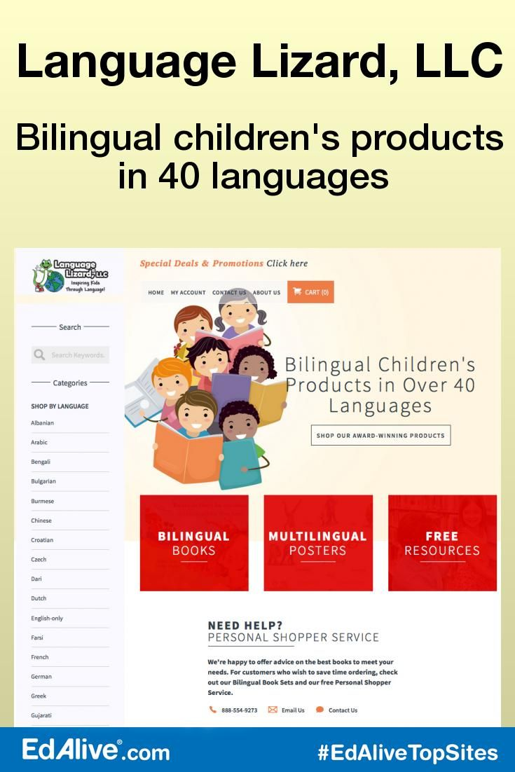 Bilingual children's products in 40 languages  | Supports families and educators who teach and raise bilingual children. Offers dual-language books and multilingual children's products in over 40 languages, including Arabic, Chinese, Farsi, French, German, Greek, Gujarati, Haitian-Creole, Hindi, Italian, Japanese, Korean, Nepali, Polish, Portuguese, Russian, Somali, Spanish, Turkish, Urdu, Vietnamese and more. Free lesson plans. #LanguageLearning #EdAliveTopSites