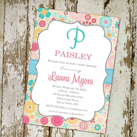 baby girl shower invitations with flowers and baby name monogram, turquoise pink and yellow, digital, printable file (item 1365b) via Etsy