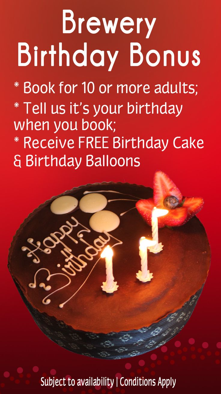 Have a complimentary birthday cake at the Brewery next time you book a birthday for 10 or more people! @ The Australian Hotel and Brewery