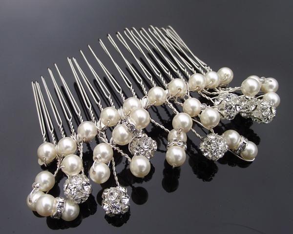 Wedding Hair Combs - Vine Style Pearl & Crystal Encrusted Hair Comb, Carolann