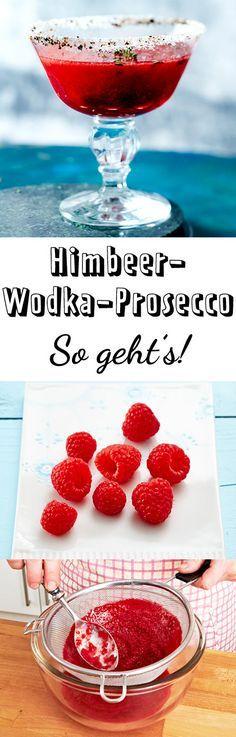 Im Glas mit Zucker-Pfeffer-Rand macht sich der rote Himbeer-Prosecco-Drink besonders gut.