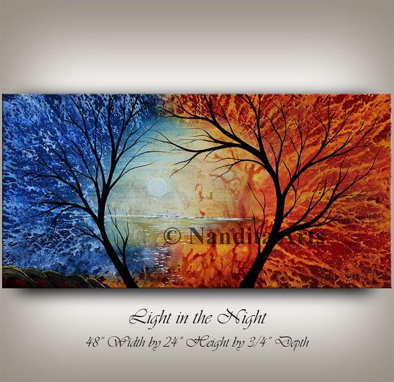 """Landscape Art for Home Decor - Serene Landscape Painting - Original Landscape Painting. """"Light in the Night"""" by Nandita Arts. Hot and cold, fire and ice, they are symbols of two forces that are everlasting. Somewhere in between, is a type of beauty that we all strive for. #Landscapepainting"""