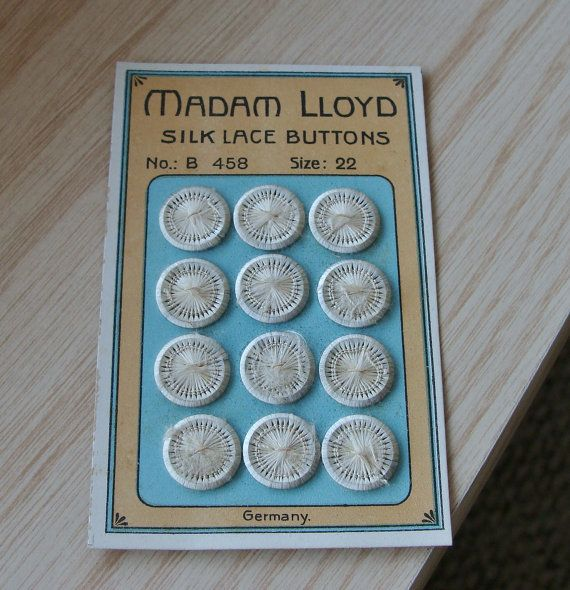 オリジナル ショップ カードのボタン 12 アンティーク シルクのレース ドーセットのセット