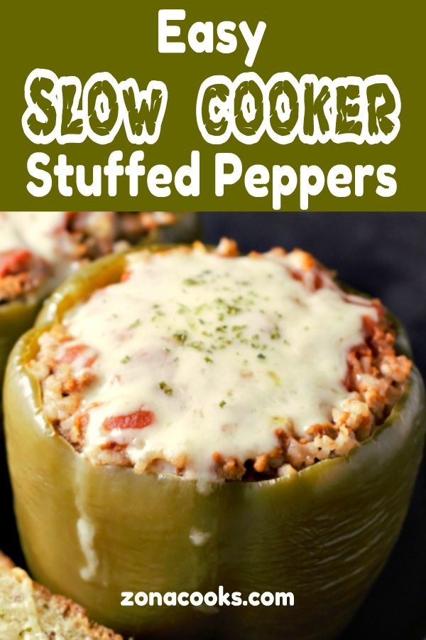 These Slow Cooker Stuffed Peppers For Two Are So Easy And Delicious Filled With Ground Beef Onion In 2020 Slow Cooker Stuffed Peppers Stuffed Peppers Easy Slow Cooker