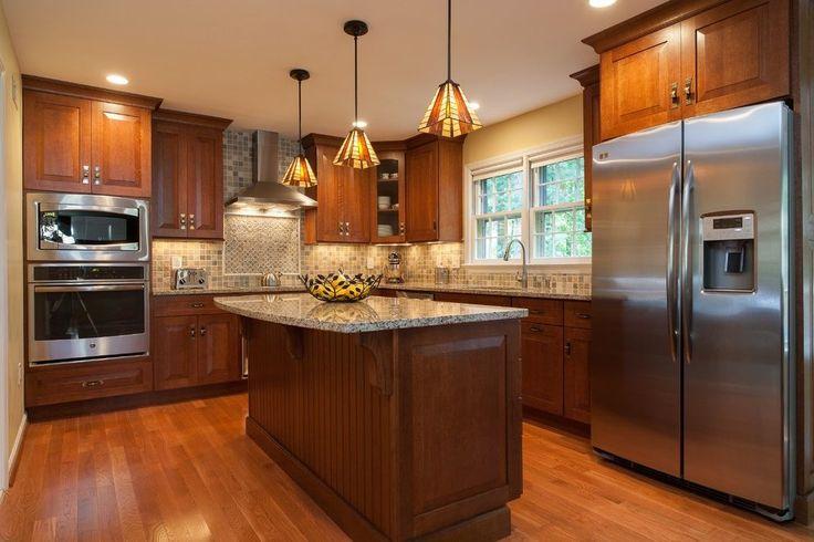 Beadboard kitchen island kitchen craftsman with tan walls pendant lighting pendant lighting