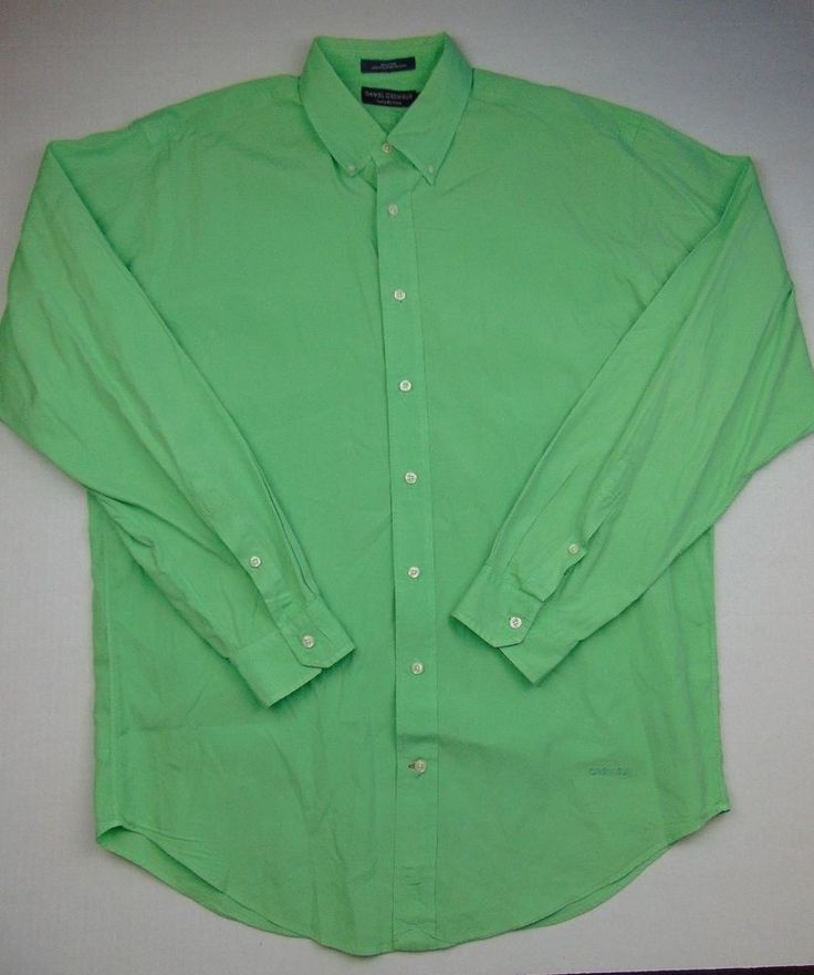Daniel Cremieux Collection Mens Size Large Solid Pastel Green Button Down Shirt #DanielCremieux #ButtonFront
