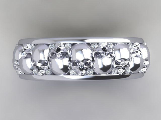 Mens or Womens Skull Wedding Band Solid Silver with White Diamonds -UDINC0329