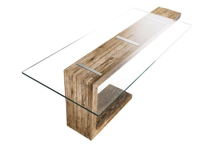 20km.info - tavolo legno antico e cristallo